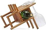 Botellero de ratán botellero |Encimera de diseño Storage Rack |Almacena cómodamente 1 Botella y 3 Copas de Vino -20.5x28.5x23cm