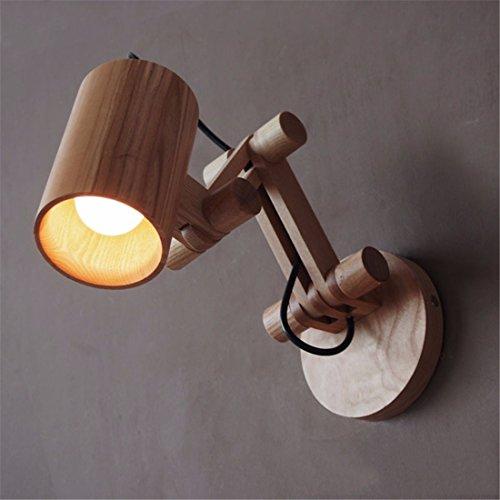 YU-K Lampe Murale chêne créative moderne personnalisé restaurant chambre bras robot lampe murale en bois, 2