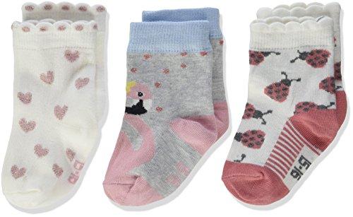 Melton Mädchen 3er Pack Baby Söckchen Girl Lurex Socken, Mehrfarbig 087, 16 (Herstellergröße: 15-16) (3erPack)
