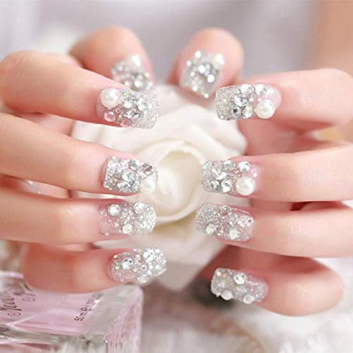 CLOAAE 3D Simulation Pearl Sequins Finished False Nails Bride Shining Rhinestone Fake Nails With Middle-long Full Nail Tips