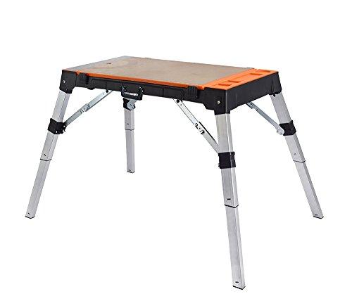 Banco carpintero 4-en-1: mesa de trabajo, escalera de mano, carro de trabajo y...