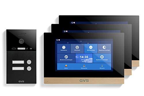 GVS Videoportero IP IP65 con RFID, monitor de 3 x 10 pulgadas, aplicación, cámara HD de 120°, apertura de puertas, memoria de 32 GB, interruptor PoE, juego de 2 casas, AVS4280A