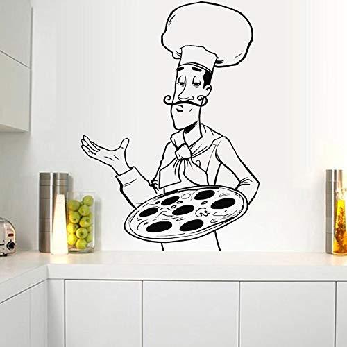 WERWN Adesivi murali per pizzerie Decalcomanie per Chef Decalcomanie per ristoranti Fast Food Decorazione per vetrine Creative per ristoranti