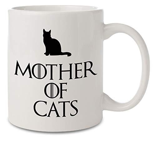 Taza de cerámica inspirada en Juego de Tronos de Madre de Gatos, color blanco, 11 onzas