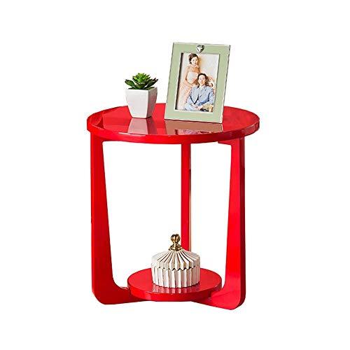 BinLZ-Table Nordic Couchtisch 2-Stufiger Runder Beistelltisch Nachttisch mit Regalaufbewahrungseinheit aus Holz, rot