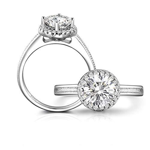Olrla echte 1ct 6.5mm moissanite Diamant-Hochzeit Engagement Ring für die Dame, größe 52(16.6)