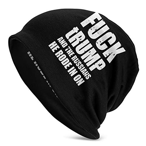 Fuck Trump and The Russians He Rode in On Adult Beanie Cap Knit Hat Casual Beanie Hat Outdoor Autumn and Winter Warm Unisex Black