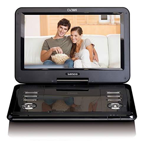 Lenco draagbare dvd-speler DVP - DVB-T2 ontvanger - 12 inch dvd-speler met tv - DVB-T2 tuner - geïntegreerde li-ion-accu - 12 volt auto-adapter - antenne - afstandsbediening - zwart