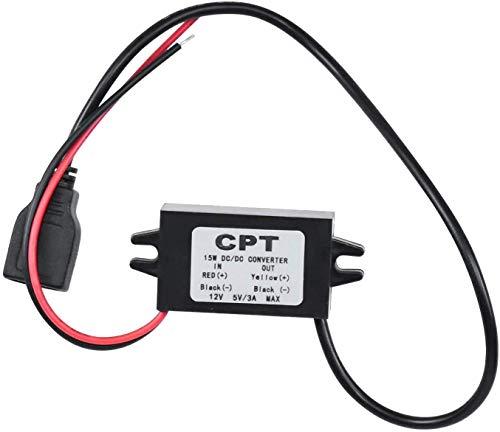 Ytesky Step Down Converter Buck Voltage Regulator DC 12V bis 5V 3A Spannungswandler mit Dual USB für Auto Vehicle Motorrad Motor Ladegerät Audio Radio