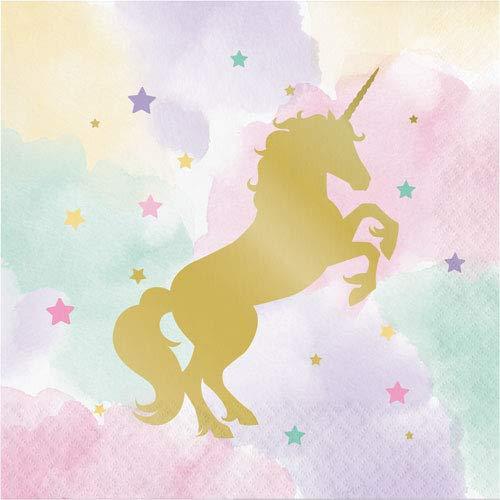 Creative Convertting 8C329411 Serviette, 33 x 33 cm, metallisch, Unicorn Sparkle, mehrfarbig