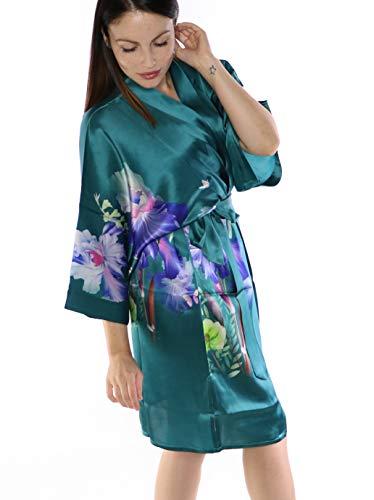 prettystern Bata de Kimono de Seda hasta la Rodilla Bata Chaqueta Estampado Floral SK08 Verde Turquesa