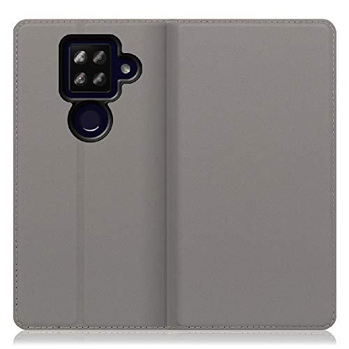 LOOF SKIN Slim AQUOS sense4 plus ケース 手帳型 カバー 極薄 ベルト無し カード収納 カードポケット 薄い 軽い スタンド機能 手帳型ケース スマホケース シンプル 手帳型カバー (グレー)