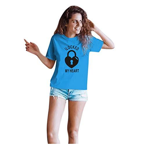 Dasongff Couple-shirts voor dames en heren, cadeauset voor verliefden, partnerlook, sleutels en vergrendeling X-Large blauw/dames.