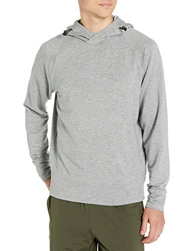 Amazon Brand - Peak Velocity Men's Yoga Luxe Fleece Pullover Hoodie, Light Grey Heather, XX-Large