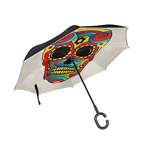 ISAOA Paraguas Grande Plegable de Doble Capa Resistente al Viento con protección UV para Coche, Lluvia, Uso al Aire Libre, Mango en Forma de C con Forma de Calavera de azúcar
