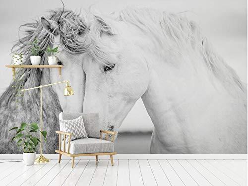 Benutzerdefinierte moderne nordische minimalistische Fototapete paar weiße Pferd Hintergrund 3d Tapete, 250 * 175cm