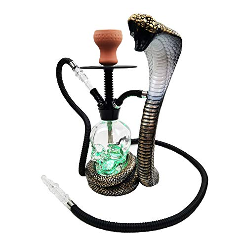 NA Gel Nail Huka Shisha Set, Cobra Form Shisha Rohr Nargila Set mit LED-Licht, für Party Club Bar Family Dinner, für 1-4 Personen (Kein Nikotin),with Silicone Tube