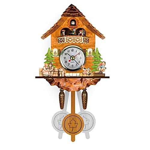 ZHJIUXING ST Reloj De Pared De Cuco Colgante Antiguo, Reloj De Pared De Péndulo De Madera para Casita De Pájaros De Cuco por Hora para Decoración De Habitación, A