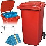 BRB 240 Liter Mülltonne rot mit Halter für Müllsäcke, inkl. 100 Müllsäcke