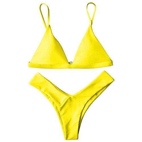 ZAFUL Damen Sport Push-Up Wickeln Bikini Sets Bademode Badeanzug Swimwear Swimsuit Gelb S