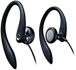 commercial Philips SHS3200BK / 37 headphones, with flexible ear hooks, black philips sports earbuds
