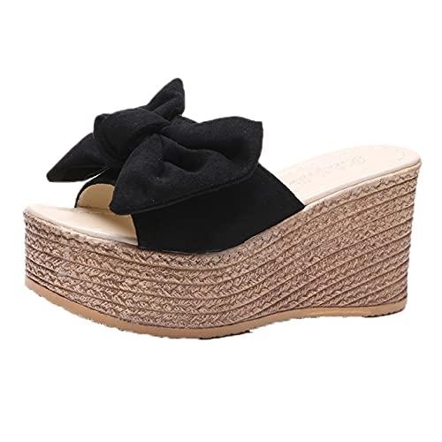 Zapatillas de mujer con plataforma de cuña al aire libre Bowknot zapatos de piscina con punta abierta Casual verano primavera calle caminar deslizadores de moda