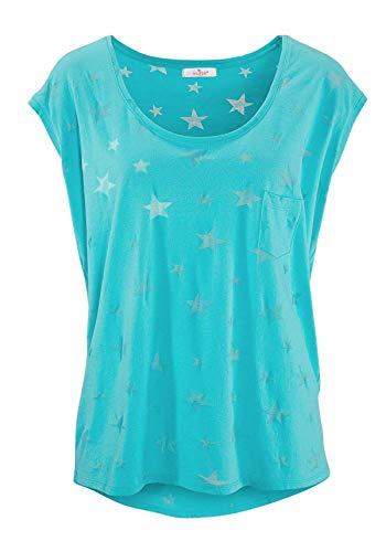 ELFIN Damen T-Shirt Kurzarmshirt Basic Tops Ärmelloses Tee Allover-Sternen Ausbrenner Shirt Sommer Shirt Small Himmelblau