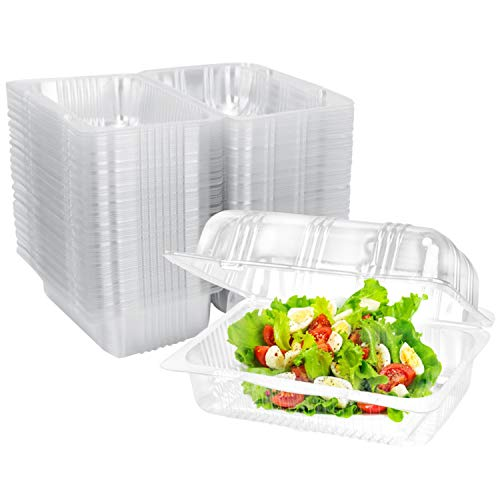 Clear Plastic Hinged Food Container 100 PCS, 6.5' Length x 4.4' Width x 3' Depth, Disposable Clamshell Food Containers for Salads, Hamburger, Sandwiches