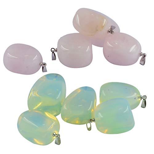 joyMerit 10 Piezas Precioso Collar con Colgante de Lágrima de Piedras Preciosas Naturales, Encantos de Fabricación de Joyas de Cristal para Mujeres Y Hombres,