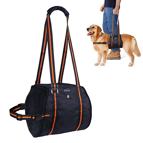 PETBABA Dog Lift Harness, Lifting Support Sling to Help Pet with Weak Back Leg, Aid Mobility and Rehabilitation, Suitable Senior Front Rear Crus Thigh Hip Injury Arthritis - XL in Black