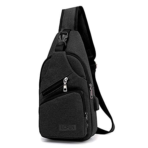 Canvas Sling Bag Shoulder Chest Cross Body Backpack With USB Charging Port For Men Women Girls Boys Crossbody Lightweight Travel/Hiking/Outdoor Sport Backpack (Black)