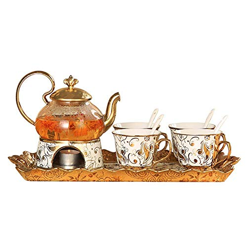 WLGQ European Tea Set Japanese Phnom Penh Golden Flower Pattern Glass Flower Fruit Flower Teapot Teapot Ceramic Bone China Tray Afternoon Tea Party