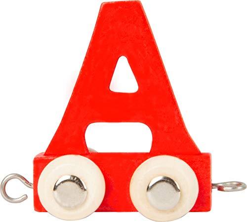 Buchstabenzug bunt   bunte Lok - farbige Waggons   Wunschname zusammenstellen   Holzeisenbahn   EbyReo® Namenszug aus Holz   personalisierbar   auch als Geschenk Set (Farbe Rot, Buchstabe A)