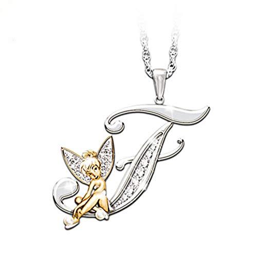 HGDS Collar con Letra Inicial para Mujer, Collares llamativos con Alfabeto de Hadas de Cristal a la Moda, Color Oro Blanco/Oro Amarillo-F