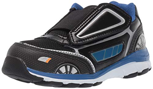 Stride Rite Boys Vroomz Cruiser Chase Lighted Sneaker, Black/Blue, 10 M US Toddler