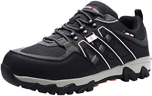 LARNMERN Chaussures de Sécurité pour Homme,LM-18 Embout en Acier Antidérapante Chaussures de Travail Respirant Confortable, Noir / Gris, 43 EU