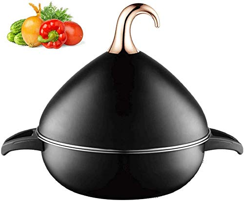 Tagin Moroccan Taj Pan Cast Stainless Steel - Ø26cm Cookware Saucepan Tagines Pot - 3.5L Tajina Cooking Slow Cooker Aluminum Alloy Lid - for Different Cooking Styles
