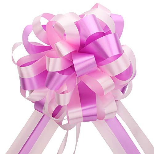 EDATOFLY 5 Pezzi Coccarde Fiocco per Fiocchi Matrimonio, Fiocchi Matrimonio Grandi Fiocchi Regalo Archi da Regalo per Mazzi di Cesti per Auto per Feste di Natale e Matrimoni Fioristi (Rosa)