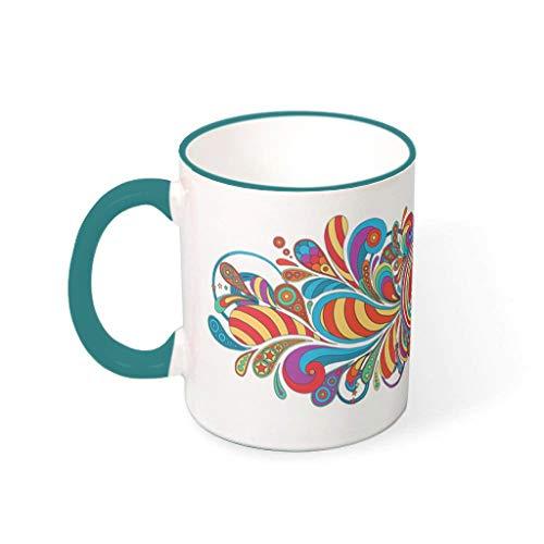 XJJ88 Vrede & Liefde Bloem Witte Dranken Koffie Mok Cup met Handvat Glad Keramisch Unieke Beker - Meisje Vrouwen, voor Thuisgebruik (11 OZ.)