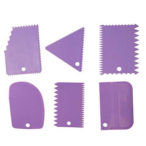 Kurphy - Juego de 6 raspadores de plástico multifuncionales con bordes irregulares, para hacer manualidades, para pasteles, etc.