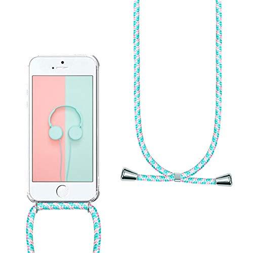 YuhooTech Handykette Handyhülle Kompatibel mit iPhone 6 / 6S Necklace Hülle mit Kordel zum Umhängenband Silikon Schutzhülle Handy-Kette mit Band - Schnur mit Case zum umhängen, Grünes Pulver