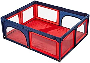 Playpens Extra Large Baby Play Yard for Kids Toddler  Safety Portable Playard Children s Game Fence  70cm Height  Red and Blue  Size 150 150cm