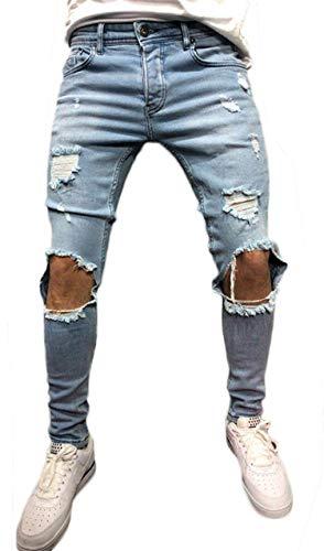 Pizoff Herren Superenge Skinny-Jeans in verwaschenem Blau mit Rissen an den Knien, Am011-blue, S