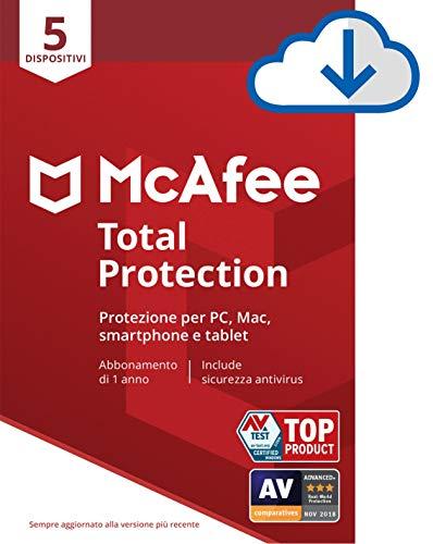 McAfee Total Protection 2020 5 Dispositivi, 1 Anno, Software Antivirus, Gestore delle Password, Sicurezza Mobile, Multi-Dispositivo, PC/Mac/Android/iOS, Codice di Download