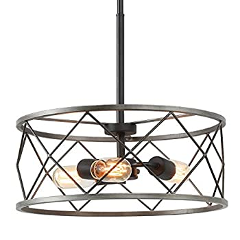 ISURAUL Metal Chandelier Dining Room Lighting Fixtures Hanging Drum Pendant Lamps for Foyer Kitchen Island W15.5  x H6  Antique Silver Finish