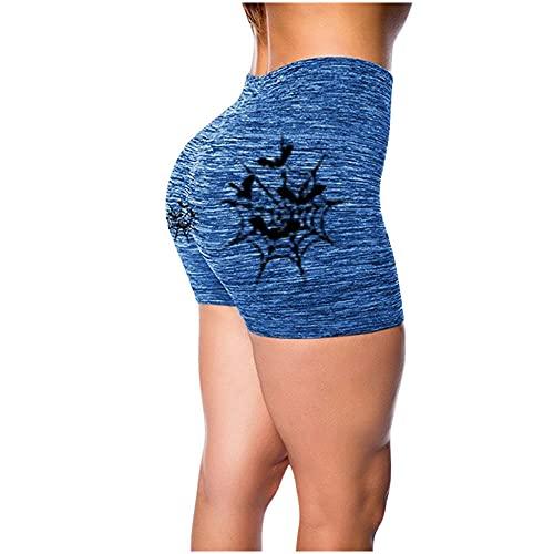 ArcherWlh Leggings Mujer,2020 Amazon European and American Cross-Border New Casual Sports Imprimir Shorts Ladies Verano Slim Pantalones Pantalones de Yoga-Azul_Metro