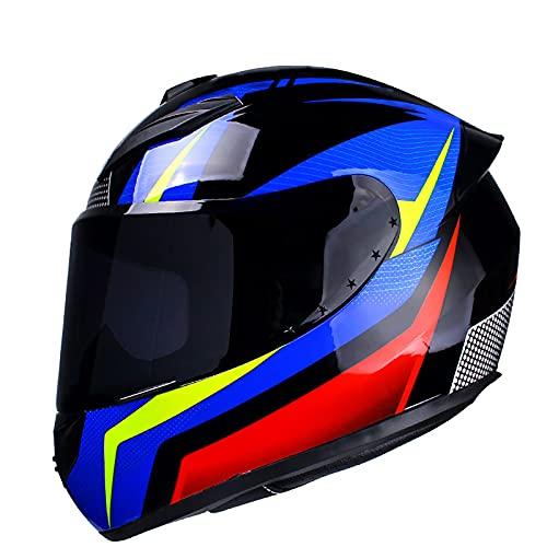 HZIH Casco Moto Integral,ECE Homologado Flip Up Visera Casco de Moto Casco Integral para Adulto Hombres Mujeres Cruceros Locomotora de Ciclomotor Chopper Cascos C,XL=61~62cm