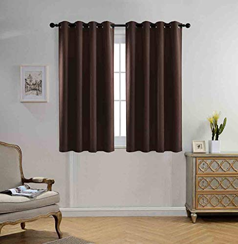Miuco Blackout Curtains Room Darkening Textured Look Grommet Panels 2 Panels for Window Treatment 52x63 Inch Chocolate