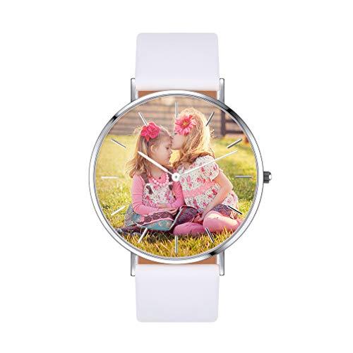 Personalizable Reloj Simple Movimiento Análogo del Cuarzo Waterproof Informal Esfera Personalizada de Imagenes Casual Clásico Mensajes Grabados Gratis en Carcasa Reloj Circular Rosado