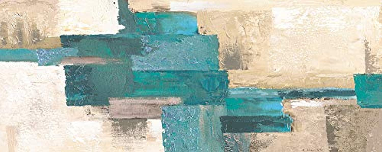 Artland Qualittsbilder I Glasbilder Deko Glas Bilder 125 x 50 cm Abstrakte Motive Muster Karo Malerei Türkis H8GC Karos Abstrakt I in beige-türkis